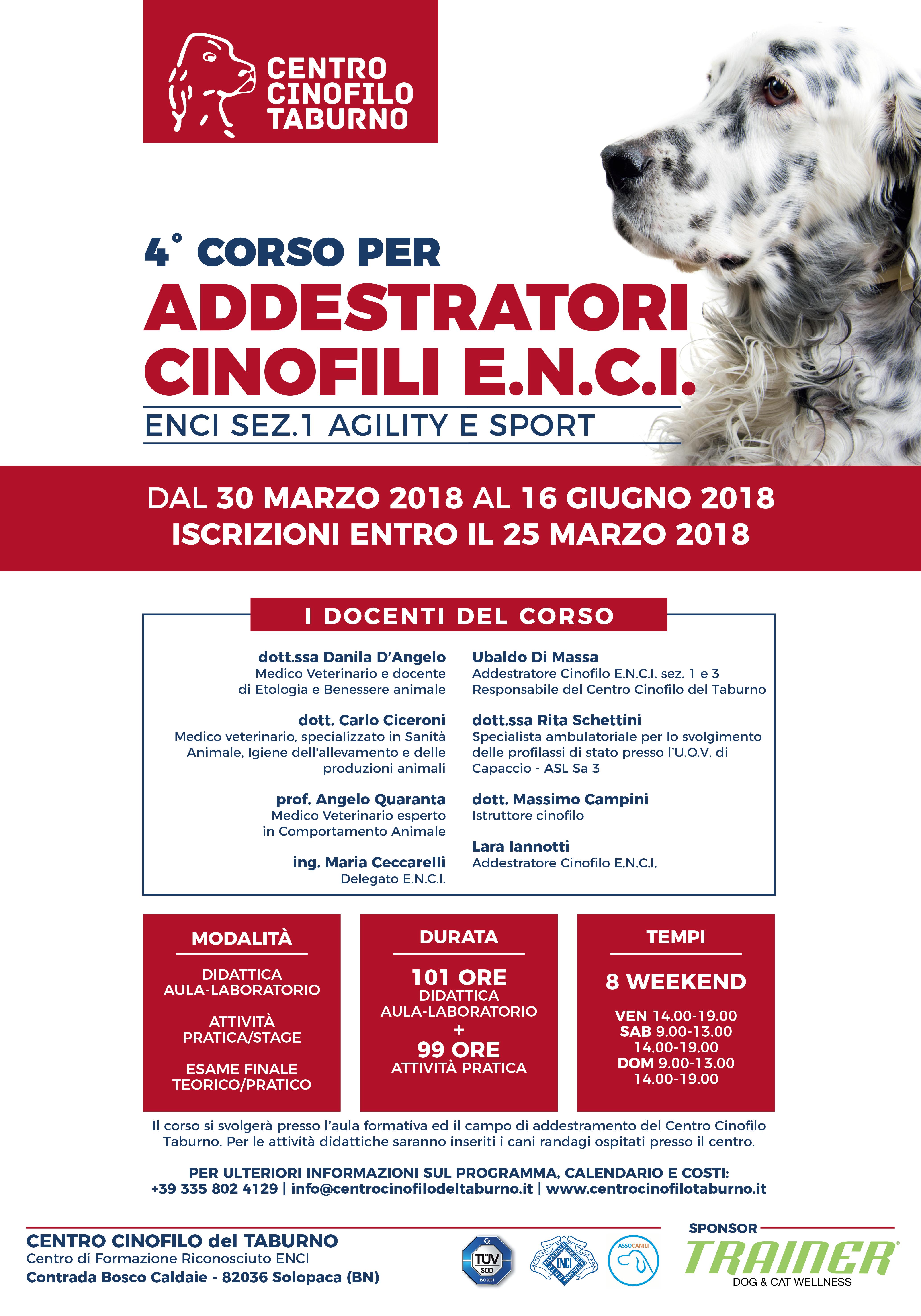 IV CORSO ADDESTRATORE CINOFILO ENCI